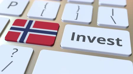 bens : INVEST text and flag of Norway on the buttons on the computer keyboard. Business related conceptual 3D animation Stock Footage