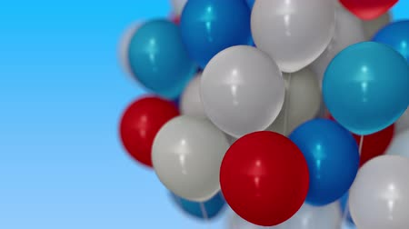 trikolóra : A bunch of red, blue and white helium balloons. 3D animation
