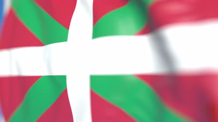 basque : Waving flag of Basque Country, an autonomous community in Spain. Close-up, loopable 3D animation Stock Footage