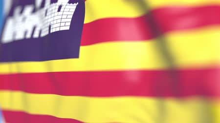 flapping : Waving flag of Balearic Islands, an autonomous community in Spain. Close-up, loopable 3D animation Stock Footage