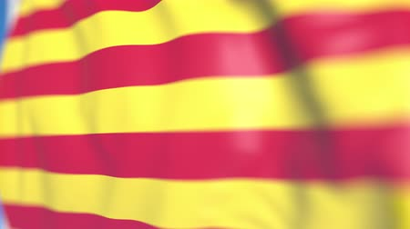 régiók : Waving flag of Catalonia, an autonomous community in Spain. Close-up, loopable 3D animation Stock mozgókép