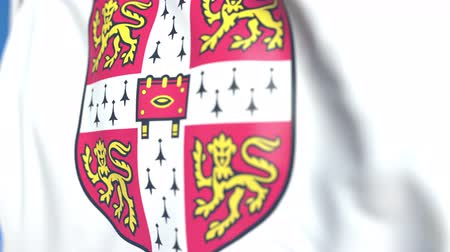 cambridge : Flying flag with University of Cambridge emblem, close-up. Editorial loopable 3D animation