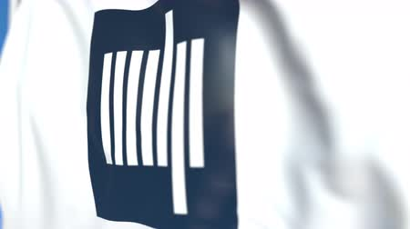 symbolic : Waving flag with Massachusetts Institute of Technology MIT emblem, close-up. Editorial loopable 3D animation