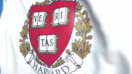 mais alto : Flying flag with Harvard emblem, close-up. Editorial loopable 3D animation