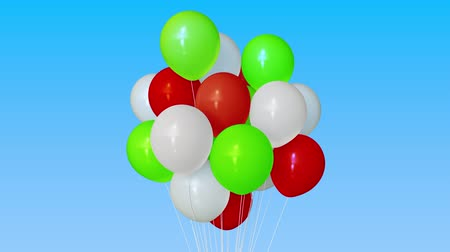 trikolóra : Making a bunch of red, green and white helium balloons. 3D animation