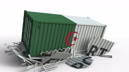 algeria : Cargo container with flag of Algeria breaks container with EXPORT text. Conceptual 3D animation