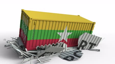 csattanás : Cargo container with flag of Myanmar breaks container with EXPORT text. Conceptual 3D animation