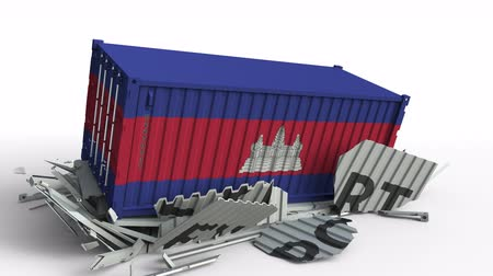 kamboçyalı : Cargo container with flag of Cambodia breaks container with EXPORT text. Conceptual 3D animation