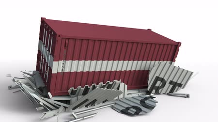 Латвия : Cargo container with flag of Latvia breaks container with IMPORT text. Conceptual 3D animation