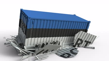 estonya : Cargo container with flag of Estonia breaks container with IMPORT text. Conceptual 3D animation Stok Video