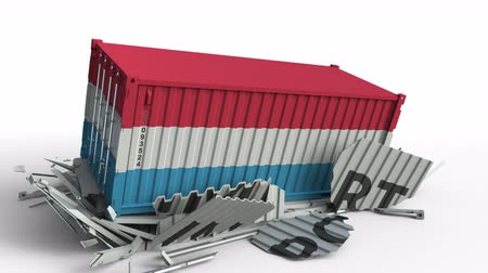 luxemburg : Container with flag of Luxembourg breaks container with IMPORT text. Conceptual 3D animation