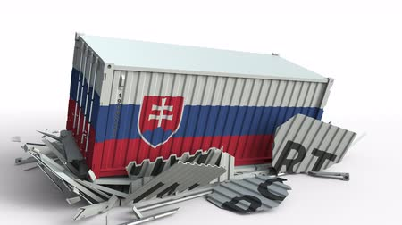 szlovákia : Container with flag of Slovakia breaks container with IMPORT text. Conceptual 3D animation