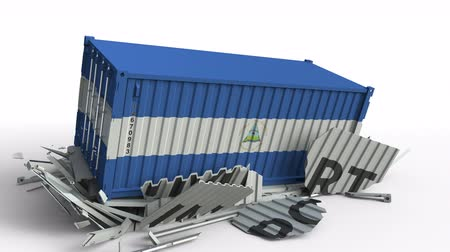 nicaraguan : Cargo container with flag of Nicaragua breaks container with IMPORT text. Conceptual 3D animation