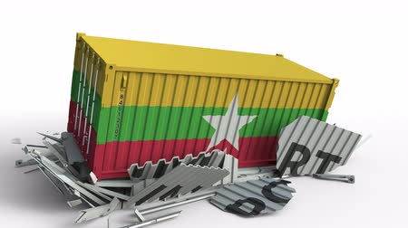 mianmar : Cargo container with flag of Myanmar breaks container with IMPORT text. Conceptual 3D animation Stock Footage