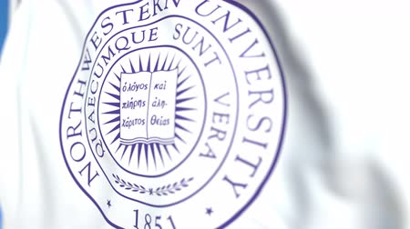 mais alto : Waving flag with Northwestern University emblem, close-up. Editorial loopable 3D animation