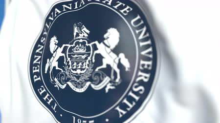 flapping : Flying flag with Penn State University emblem, close-up. Editorial loopable 3D animation