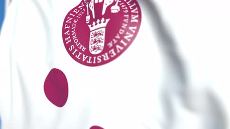 kopenhagen : Flying flag with University of Copenhagen emblem, close-up. Editorial loopable 3D animation