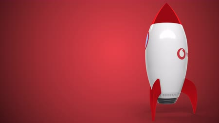 ракета : VODAFONE logo against a rocket mockup. Editorial conceptual success related animation Стоковые видеозаписи