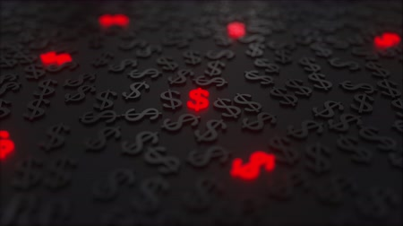 disperso : Glowing red dollar signs among black USD symbols. Conceptual 3D animation