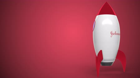 oficial : Logo of JOHNSON AND JOHNSON on a toy rocket. Editorial conceptual success related animation