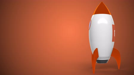 mi : Logo of XIAOMI on a toy rocket. Editorial conceptual success related animation