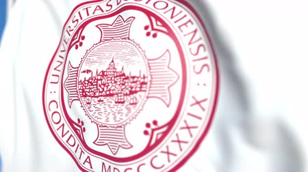 mais alto : Waving flag with Boston University emblem, close-up. Editorial loopable 3D animation Vídeos