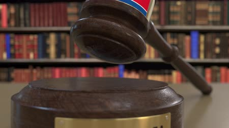 jurisdiction : Flag of North Korea on falling judges gavel in court. National justice or jurisdiction related conceptual 3D animation