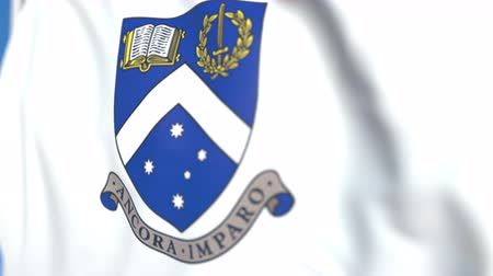 mais alto : Waving flag with Monash University emblem, close-up. Editorial loopable 3D animation Vídeos