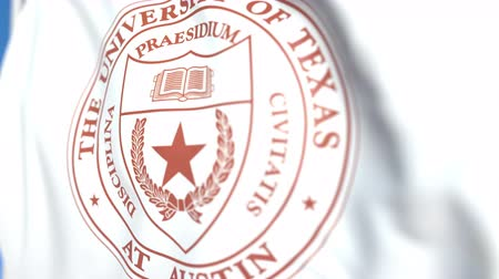 mais alto : Flying flag with University of Texas Austin emblem, close-up. Editorial loopable 3D animation