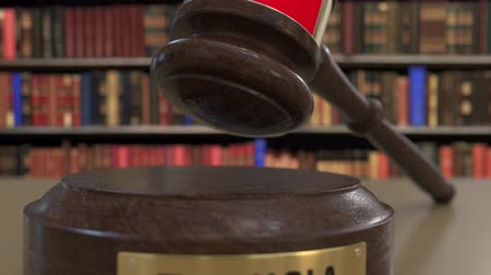 holzhammer : Flag of Tunisia on falling judges gavel in court. National justice or jurisdiction related conceptual 3D animation Videos