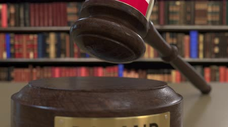 jurisdiction : Flag of Poland on falling judges gavel in court. National justice or jurisdiction related conceptual 3D animation