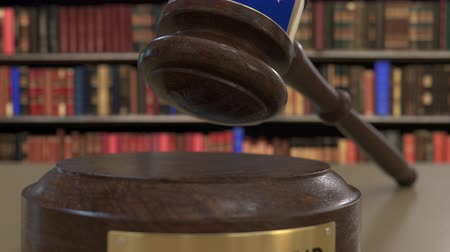 jurisdiction : Flag of New Zealand on falling judges gavel in court. National justice or jurisdiction related conceptual 3D animation Stock Footage