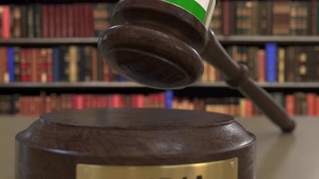 jurisdiction : Flag of India on falling judges gavel in court. National justice or jurisdiction related conceptual 3D animation Stock Footage