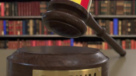 jurisdiction : Flag of Belgium on falling judges gavel in court. National justice or jurisdiction related conceptual 3D animation Stock Footage