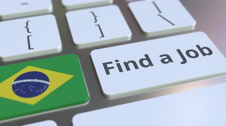brazil : FIND A JOB text and flag of Brazil on the buttons on the computer keyboard. Employment related conceptual 3D animation