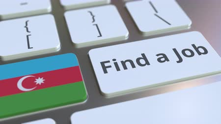 munkanélküliség : FIND A JOB text and flag of Azerbaijan on the buttons on the computer keyboard. Employment related conceptual 3D animation Stock mozgókép