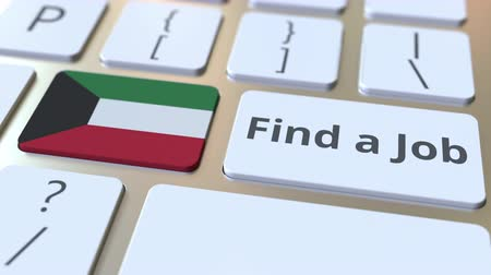 işsizlik : FIND A JOB text and flag of Kuwait on the buttons on the computer keyboard. Employment related conceptual 3D animation Stok Video