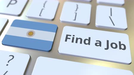 candidato : FIND A JOB text and flag of Argentina on the buttons on the computer keyboard. Employment related conceptual 3D animation