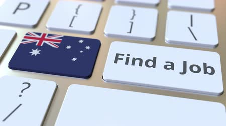 candidato : FIND A JOB text and flag of Australia on the buttons on the computer keyboard. Employment related conceptual 3D animation