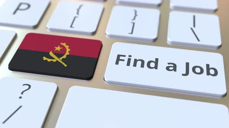 трудовые ресурсы : FIND A JOB text and flag of Angola on the buttons on the computer keyboard. Employment related conceptual 3D animation
