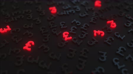 pound : Glowing red british pound sterling signs among black GBP symbols. Conceptual 3D animation