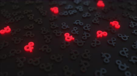 amplificador : Glowing red ampersand signs among black symbols. Conceptual 3D animation Vídeos