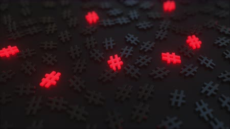 hashtag : Glowing red at hash signs among black symbols. Conceptual 3D animation