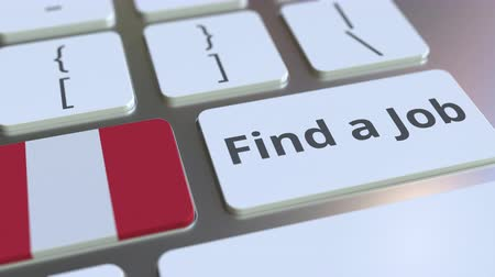 трудовые ресурсы : FIND A JOB text and flag of Peru on the buttons on the computer keyboard. Employment related conceptual 3D animation