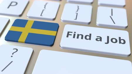 candidato : FIND A JOB text and flag of Sweden on the buttons on the computer keyboard. Employment related conceptual 3D animation