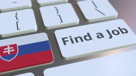 Словакия : FIND A JOB text and flag of Slovakia on the buttons on the computer keyboard. Employment related conceptual 3D animation Стоковые видеозаписи