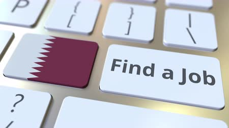 reclutar : FIND A JOB text and flag of Qatar on the buttons on the computer keyboard. Employment related conceptual 3D animation