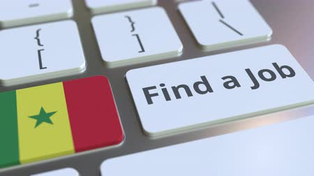 recrutamento : FIND A JOB text and flag of Senegal on the buttons on the computer keyboard. Employment related conceptual 3D animation
