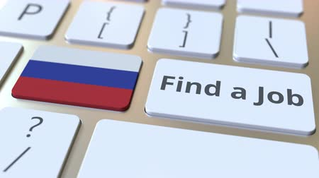 reclutar : FIND A JOB text and flag of Russia on the buttons on the computer keyboard. Employment related conceptual 3D animation Archivo de Video
