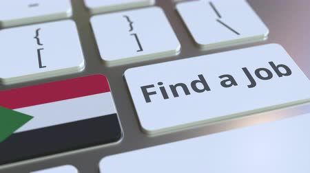 sudanian : FIND A JOB text and flag of Sudan on the buttons on the computer keyboard. Employment related conceptual 3D animation Stock Footage